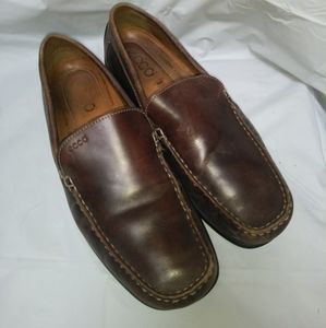 Ecco Moc leather driving loafer shoes brown 44/ 10
